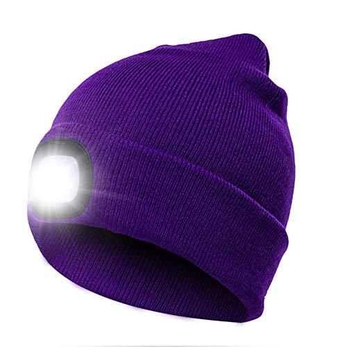 Fancylande - Sombrero con iluminación LED, cálido Gorro de Punto Iluminado al Aire Libre con Capucha, Ligero, Adecuado para Hombres y Mujeres I