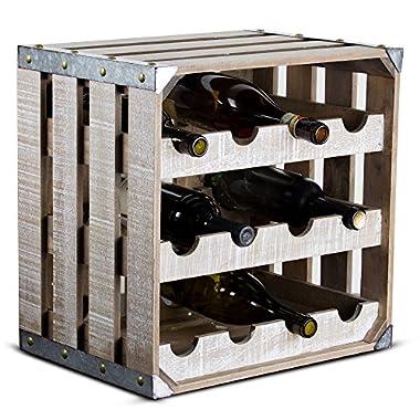 Millennium Art 12 Bottle Wine Rack Rustic White Wood Square Vintage Crate Galvanized Metal Farmhouse Decor Wine Storage