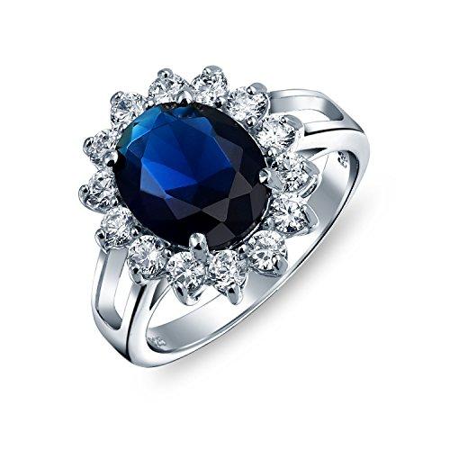 5Ct Azul Real Safiro Simulado Ovalado Zirconio Cúbico CZ Corona Halo Para Mujer Promesa Anillo De Plata Esterlina