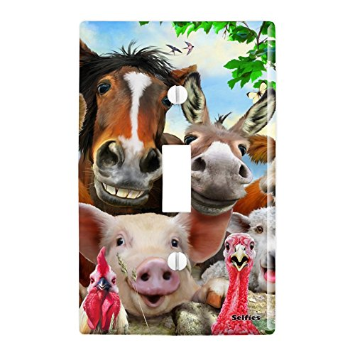 GRAPHICS & MORE Farm Selfie Horse Pig Chicken Donkey Cow Sheep Plastic Wall Decor Toggle Light Switch Plate Cover