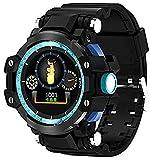 TCHENG Hombres Reloj al Aire Libre Pantalla de Color Pulsera Inteligente Impermeable Anti-Otoño Ritmo cardíaco Monitoreo de presión Arterial Bluetooth Deportes Paso Fitness Smartwatch (Color : Blue)