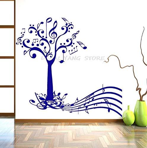 Etiqueta engomada de la pared del arte árbol de la música y las llaves notas decoración de la habitación papel decoración de la pared cartel extraíble Mural vinilo calcomanía 45 * 42Cm