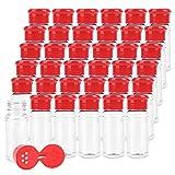Kingrol 36 Stück Gewürzgläser aus Kunststoff Leere Gewürzdosen Flaschen Behälter Gewürzstreuer mit Deckel für Gewürz Salz Pfeffer Pulver - 100 ml