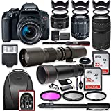 Canon EOS Rebel T7i DSLR Camera with 18-55mm Lens Bundle + Canon EF 75-300mm III Lens, Canon 50mm f/1.8, 500mm Lens & 650-1300mm Lens + Backpack + 64GB Memory + Monopod + Professional Bundle