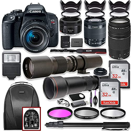 Canon EOS Rebel T7i DSLR Camera with 18-55mm Lens Bundle + Canon EF 75-300mm III Lens, Canon 50mm f 1.8, 500mm Lens & 650-1300mm Lens + Backpack + 64GB Memory + Monopod + Professional Bundle