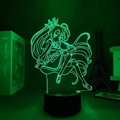 A-Generic Ilusión lámpara 3D Estado de ánimo Llevado luz Nocturna acrílico Personajes Manga Shiro Interior Decorativo bebé ni Juegos Ninguna Vida-Negro Base_no Remoto