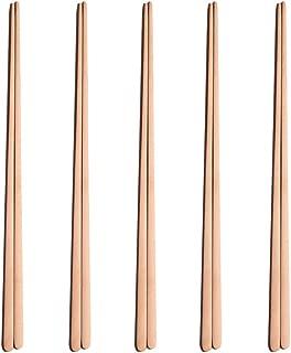 OMGard 18/10 Stainless Steel Korean or Japanese Chopsticks Tableware Dinnerware Color Rose Gold 5 Pack Pairs