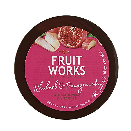 Fruit Works Rhubarb & Pomegranate Cruelty Free & Vegan Body Butter With Natural Extracts 1x 225g