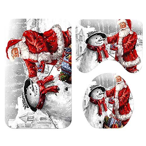 About1988 Weihnachten Weihnachtsdeko WC-Sitze Set, duschvorhang, toilettenteppich, Badezimmerteppich Set Badteppich Badgarnitur Badvorleger Toiletten WC Abdeckung Badematte,Anti-Rutsch (B)