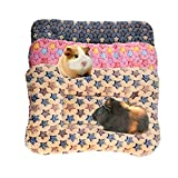 BundleMall 3 pcs Small Animal Plush Bed,Warm Fluffy Puppy Blanket ,Fleece Sleep Pad Guinea Pig Hamster Rabbit Bed Mat for Kitten,Bunny, Chinchilla, Squirrel, Hedgehog (Small:15X11in, Blue+Brown+Pink)