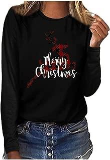 haoricu Women Solid Color Christmas Letter Print Shirt Long Sleeve Baseball Tee Merry Christmas T-Shirt