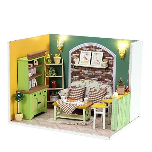 Kinder Bausteine  DIY Hütte 3D-Puzzles aus Holz handgemachte Minipuppen DIY Kit Licht Puppenstuben Zubehör for Dekoration Lernspielzeug ( Farbe : Multi-colored , Size : 17*13*13cm )