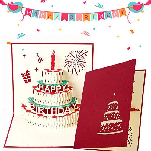 Biglietto di Buon Compleanno, 3D Pop Up Biglietti di Auguri Regalo, 3D Pop-Up Buon Compleanno Biglietto di Auguri per Anniversario, Nozze, Benedizioni, Affari e Saluti (Rosso compleanno)