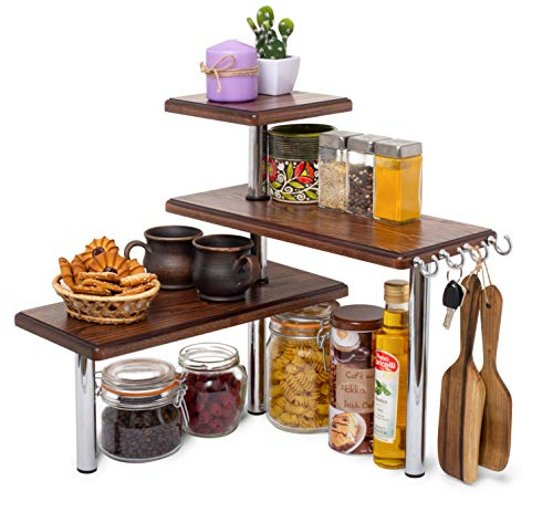 3 Tier Corner Shelf Natural Solid Ash Wood Countertop Organizer Bookshelf Display Shelves Space Saving Rack for Living Room, Kitchen, Office (with Hooks)