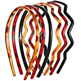 NVENF 9PCS Plastic Headbands for Women Nonslip Teeth Comb Hairbands Elastic Link Chain Headbands Tortoise Wavy Toothed Twisted Hair Hoop for Girls (Style D)