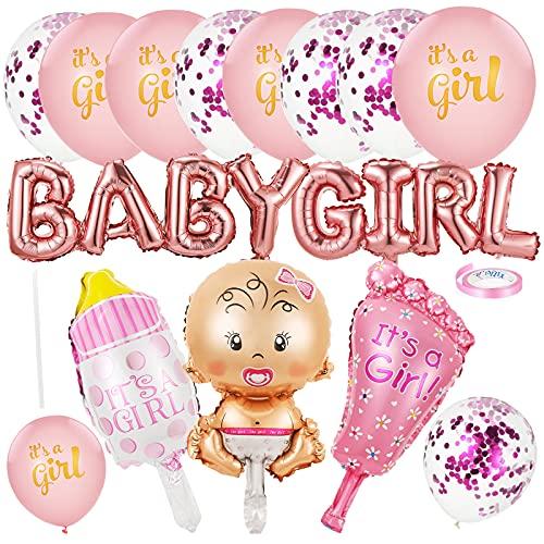 Babyparty Deko Mädchen | Taufe Deko Mädchen | Its a girl Rosa Luftballons | Baby Shower Dekorationen mit Baby Girl Ballon Banner, Folienballon, Konfetti Luftballons und Latexballon