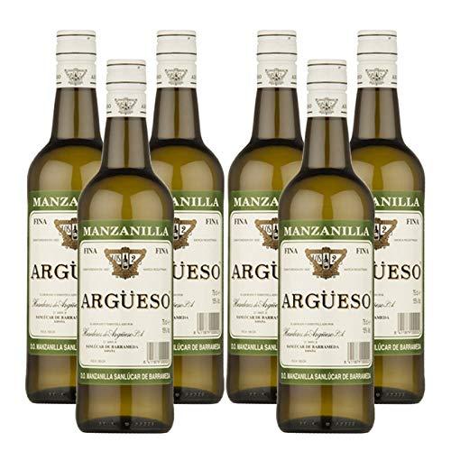 Vino Manzanilla Fina Argüeso de 75 cl - D.O. Manzanilla-Sanlucar de Barrameda - Bodegas Argüeso (Pack de 6 botellas)