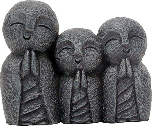 3 Inch Jizo Monks Smiling Statue, Dark Grey Desk and Shelf Decoration by YTC