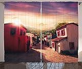 ABAKUHAUS Ciudad Vieja Casas Cortinas, Puesta de Sol Ciudad de México, Sala de Estar Dormitorio Cortinas Ventana Set de Dos Paños, 280 x 245 cm, Multicolor