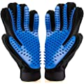 FMU Pet Grooming Glove - Dog Grooming Brush Glove - Cat Glove Brush - Pet Hair Remover Dog Grooming - Perfect for Dog & Cat with Long & Short Fur - Enhanced Five Finger Design - (One Pair)