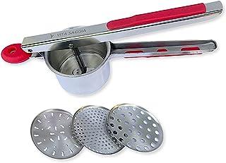 آلة تقطيع البطاطس وهروستها من الفولاذ المقاوم للصدأ شديدة التحمل مع 3 أقراص قابلة للتبديل ، درجة ممتازة ، سعة كبيرة ، مصفا...