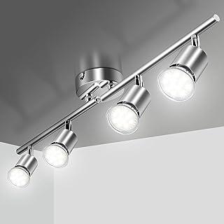 Plafonnier LED 4 Spot Orientable, Éclairage de Plafond 4xGU10 Spot LED Angle Réglable Luminaire Plafonnier 220V Luminaire ...