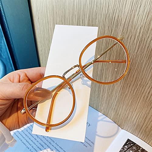yqs Gafas de Lectura, Moda Grandes Gafas Redondas Marco Menores Mujeres Metal Gafas Marcos Vintage Optical Eyeglasses Ordenador Fotos fotosensibles (Color : Orange, Size : +200)