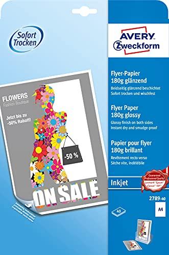AVERY Zweckform 2789-40 Inkjet Flyer-Papier (40 Blatt, 180 g/m², DIN A4 Papier, beidseitig beschichtet, glänzend, ideal für hochwertige & beidseitig bedruckte Flyer, für Tintenstrahldrucker, FSC)