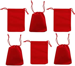"""rainbowroseus 50PCS 3"""" x 4"""" Red Velvet Cloth Jewelry Pouches Drawstring Bags Candy Gift Bag Pouch Christmas Wedding Favors"""