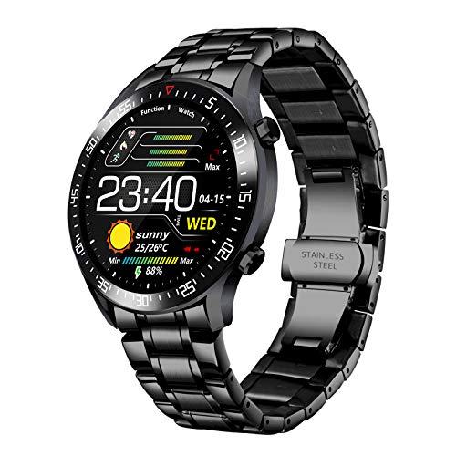 LIGE Smart Watch Fashion Classic Acero Inoxidable Fitness Sport IP68 Reloj Impermeable con Monitor de frecuencia cardíaca/sueño Reloj para Hombre (para iPhone y Android) (Negro)
