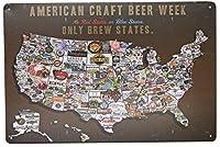 アメリカクラフトビール週ビール州マップビンテージポスター金属錫記号壁装飾