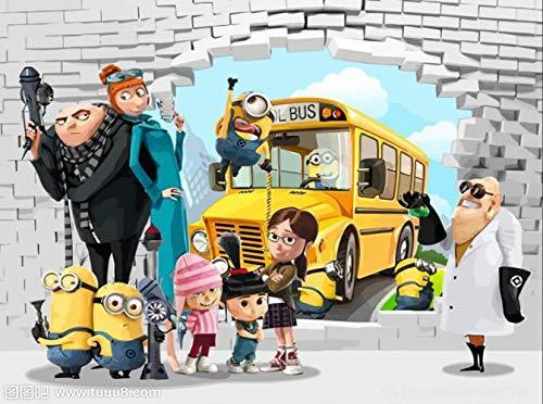 Benutzerdefinierte Minions Wallpaper Jungen Kinder Mädchen Schlafzimmer Lustige 3d Cartoon Fototapete Wasserdichte Wandbilder Wohnzimmer Home Decoration