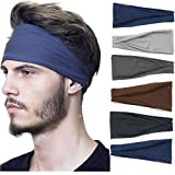 Headbands For Men/Women, 6 PCS Cotton Headbands Yoga Sports Headbands Elastic Non Slip Sweat Bands Workout Headband