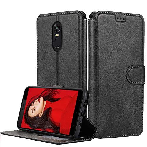 LeYi Cover Xiaomi Redmi Note 4X con HD Pellicola Protettiva,Custodia Flip Pelle Libro Silicone TPU Bumper Portafoglio Skin Fondina Morbida Scocca Antiurto Case per Telefono Redmi Note 4X,Nero