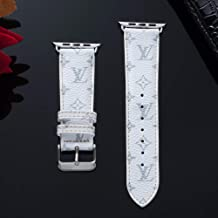 38mm (Fit for 40mm) Compatible Apple Watch Straps, Luxury Fashion PU Leather Classic Monogram Wrist Bands for Women and Men, Replacement for Apple Watch Series 4 3 2 1 38/40MM (S.Logo White)