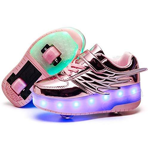 Zapatos de Roller,Patines Deportes Zapatos,Led Luces USB Cargable Forma de Ala Rueda Delantera Desmontable Rueda Trasera Retráctil Running Zapatillas,Usado Para Deportes de Exterior Niños Niña,32