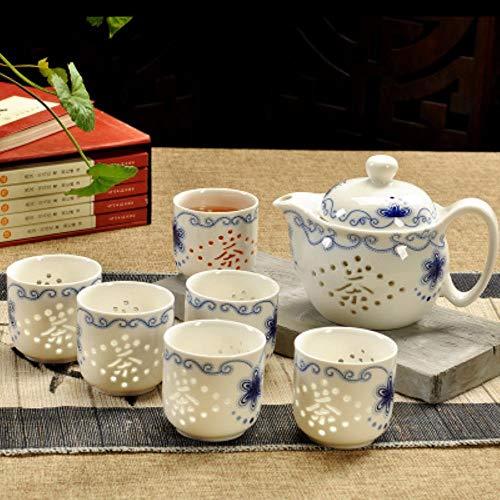 TOSISZ Juego de té Chino de cerámica de Porcelana Azul y Blanca Tetera 400 ml Taza de Porcelana Tetera de remojo Juego de té Kungfu Taza de Bebida, 6