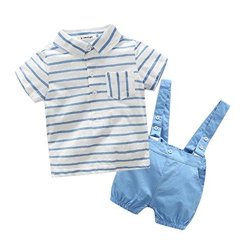 Ropa Bebe Recien Nacido Niño Verano 6 Meses a 2 años Caballero A Rayas Camiseta + Tirantes Pantalones Cortos Conjuntos 2 Piezas