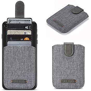 Card Holder for Back of Phone RFID 5 Pull Credit Card Cash Cell Wallet Pocket Canva Leather Case for Smartphones  Grey