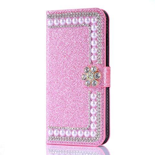 Artfeel Glitzer Brieftasche Hülle für Samsung Galaxy S9, Bling Diamant 3D Perle Flip Leder Handytasche mit Kartenhalter,Kristall Strass Blume Magnetverschluss Stand Hülle-Perle Rosa