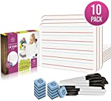 10 Pack Dry Erase Ruled Lap Boards l 9 X12 inch Lined Whiteboard (Double Sided White Boards) Markers & Erasers Included