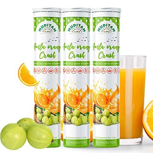 Muditam Ayurveda Amla Orange Crush Tablet   Vitamin C effervescent tablets for Skin, Hairs & Eyes   Amla Orange Extract 60 Effervescent tablets   Immunity Booster - Antioxidant Builder