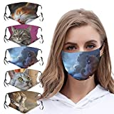 Lustig Animal Print Mundmaske 3D, Waschbar Mundschutz mit Motiv Katze, Mehrweg Atmungsaktiv Stoff Bandana Halstuch Tuch, Outdoor Mund und Nasenschutz für Herren Damen - Lialbert