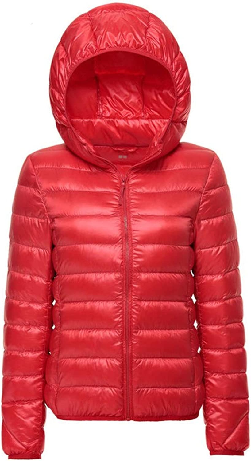 LQYRF Winter Ladies Hooded Windproof Warm and Light 90% White Duck Down Jacket