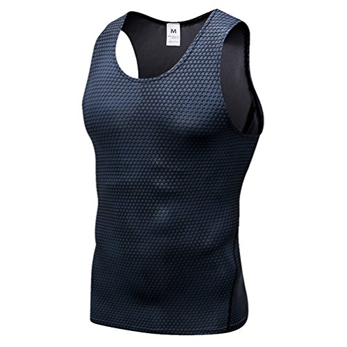 YiiJee Sports T-Shirt Herren Kompressionsshirt Base Layer Ärmellos Schnelltrocknend Tank Top Schwarz S