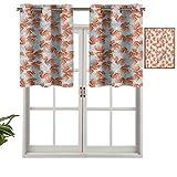 Hiiiman Cortinas térmicas aisladas con cenefa de cortina con diseño de amapolas románticas, juego de 1, 106,7 x 45,7 cm para decoración de salón comedor
