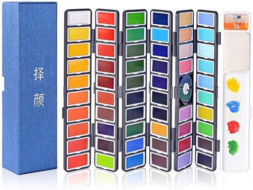 Xileyw Watercolor Paint Set - 58 Assorted Colors Professional Travel Mini Portable Pocket Watercolor Field Sketch Set for Artist, Kids & Adults Field Sketch Outdoor Painting