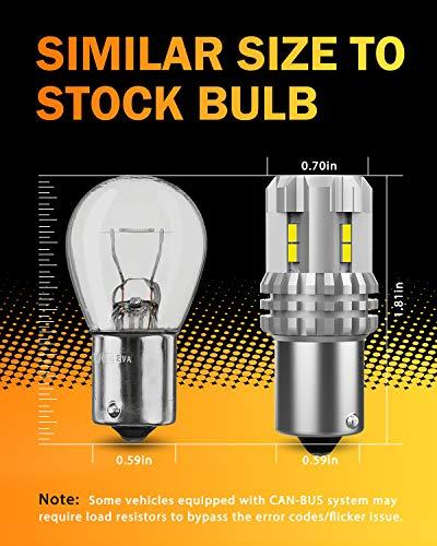 OXILAM 1156 LED Bulbs Reverse Light 2800 Lumens Extremely Bright BA15S 7506 1003 1141 P21W LED Bulb Used for Backup light, Tail light, Brake light (Xenon White)