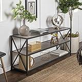 Walker Edison Furniture Company 2 Shelf Industrial Wood Metal Bookcase Bookshelf Storage, 60 Inch, Grey/Brown