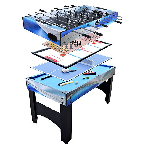 Hathaway Matrix 54-In 7-in-1 Multi Game Table Foosball, Pool, Glide Hockey, Table Tennis, Chess, Checkers Backgammon